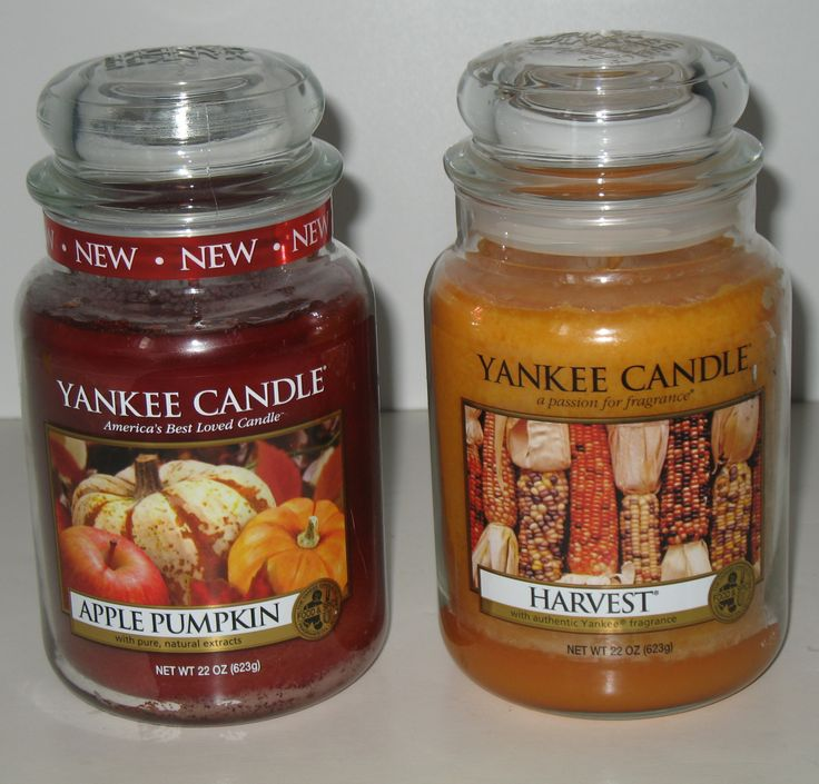 Two popular Yankee Candle scents, Harvest and Apple Pumpkin, in the large jars! #yankeecandles #fall #candles $49.95 with FREE shipping. #ck