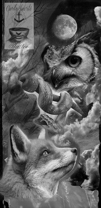 digital art tattoo #realistic tattoo #fox tattoo #owl tattoo #snake tattoo #tattoo idea