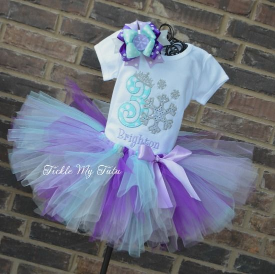 Snowflake Princess Birthday Tutu Outfit.  Perfect for your Frozen themed or Winter ONEderland parties.  Available at www.ticklemytutu.com.