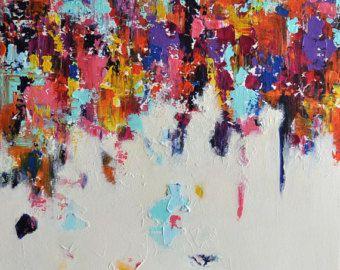 """Caídas del arco iris 2 Original la pintura abstracta moderna invierno lluvia 16 """"x 16"""""""