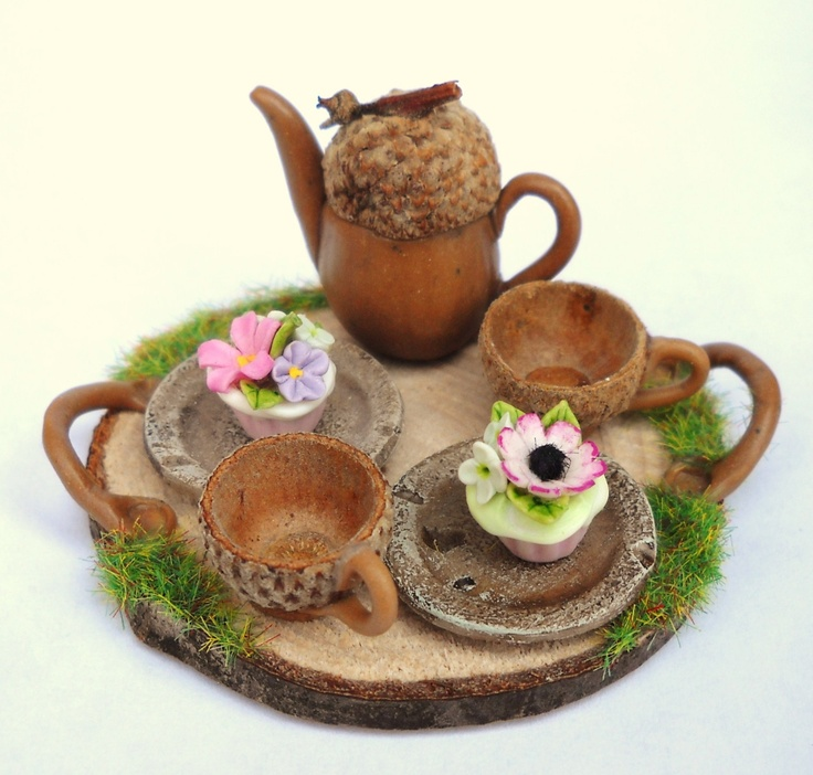 1/12TH scale - FLORAL FAIRY CUPCAKES AND TEA FOR TWO ON A RUSTIC TRAY BY LORY  aww ...