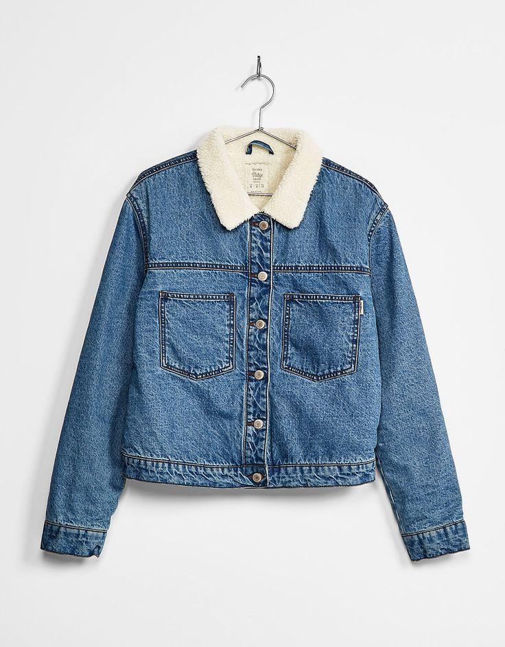 Denim jacket with fleece lining - Coats and jackets - Bershka Israel