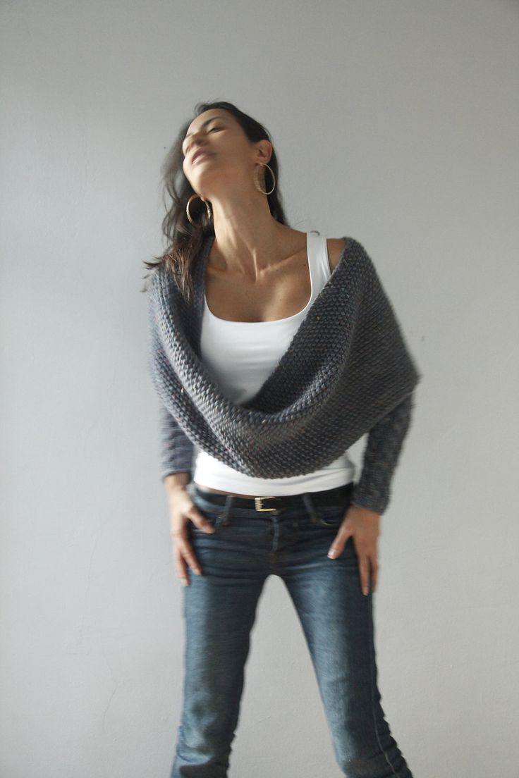 cozy knit infinity wrap with sleeves...love it!
