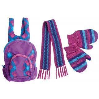 Ice Cap Back pack: Saila loves her new backpack that has two zippered compartments to hold all of her things. She was excited to find a scarf and mitts that were made in all of her favourite colours and in her favourite zig zag pattern.