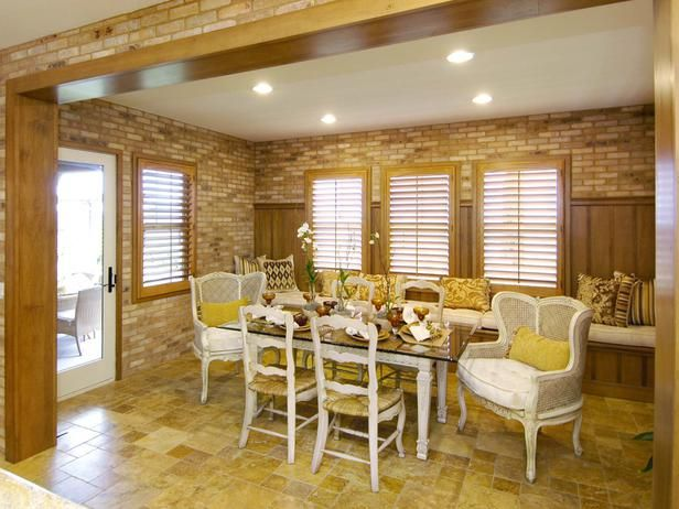 Dining Room Nook: This nook doubles as an informal dining room and garden breakfast room. From HGTVRemodels.com