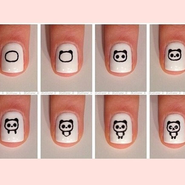 Step-by-step nail art Panda