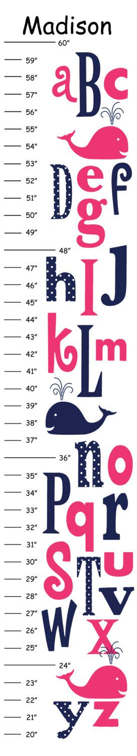Personalized Hot Pink Navy Alphabet Whale Canvas Growth Chart by CamieTurnerDesigns on Etsy https://www.etsy.com/listing/201090541/personalized-hot-pink-navy-alphabet