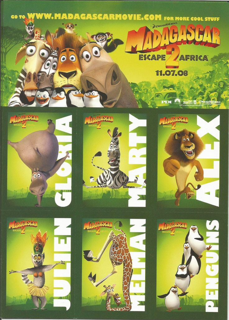 Madagascar Escape 2 Africa Card Sheet Dreamworks | eBay