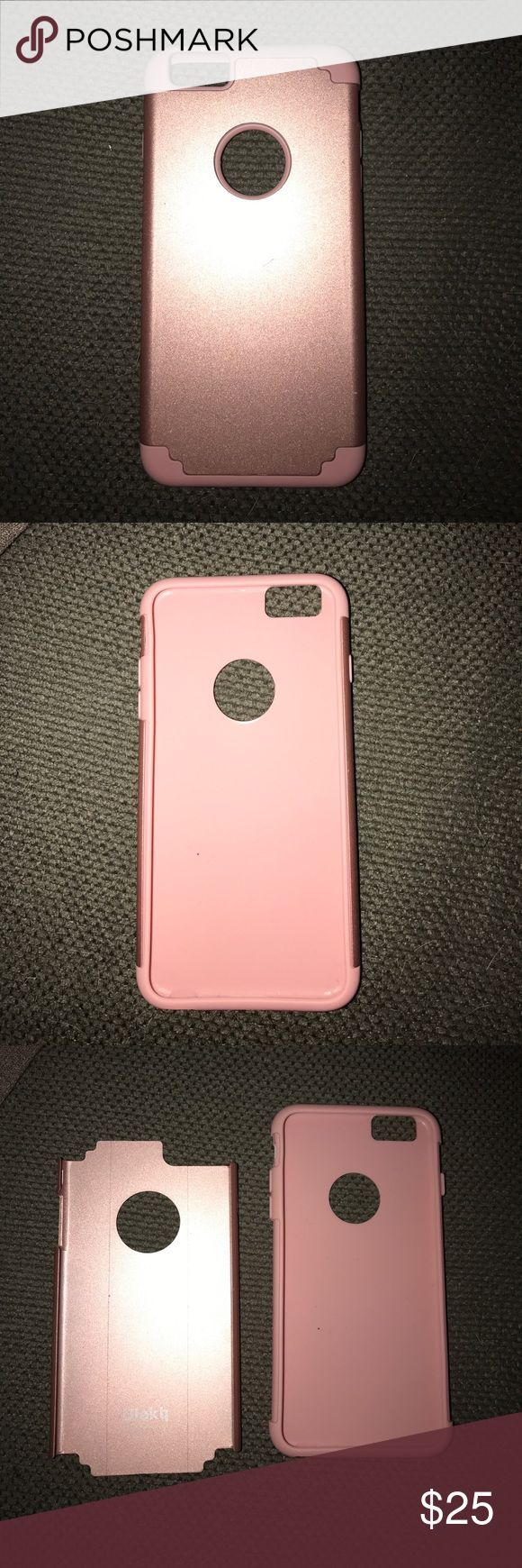 Pink/ Rose Gold iPhone 6 Plus Case Double layer iPhone 6 plus case, half silicon and half hard plastic Other