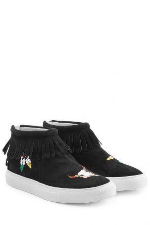 Joshua Sanders Joshua Sanders Bestickte High-Top-Sneakers aus Veloursleder mit…