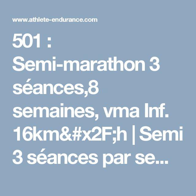 501 : Semi-marathon 3 séances,8 semaines, vma Inf. 16km/h | Semi 3 séances par semaine