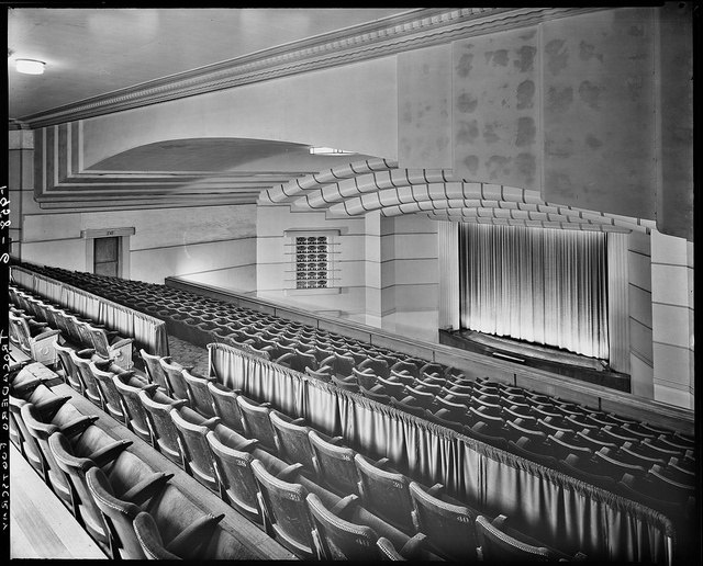 Hoyts Trocadero Theatre, Footscray View from balcony down to curtained screen, showing seating, stage and ceiling.