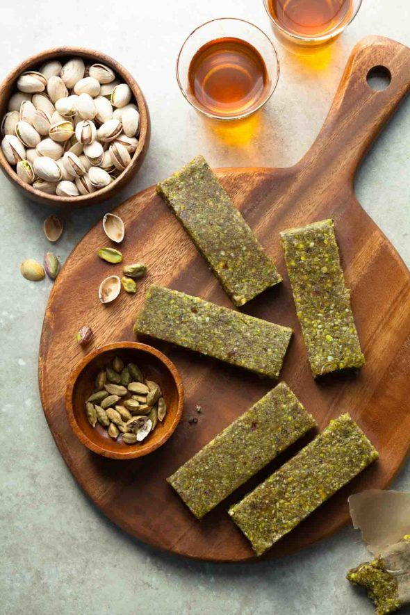 These pistachio energy bars are the soft and chewy kind and are incredibly simple to make. You can throw them together in just a few minutes and keep a batch in the fridge or freezer for when you need them since they'll stay fresh for several weeks.