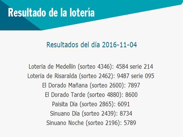 Resultado de la Lotería: Resultado-De la-loteria-de-colombia-04-de-noviembr...