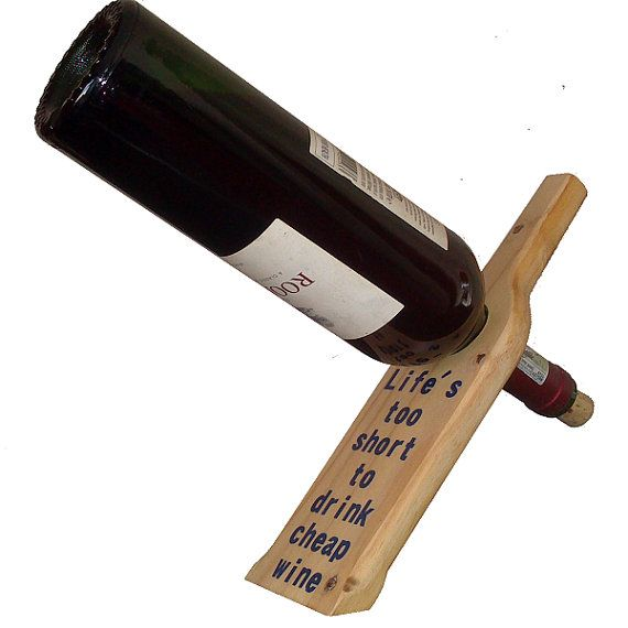 Personalized Wooden Floating Wine Bottle Holder by NicheWood
