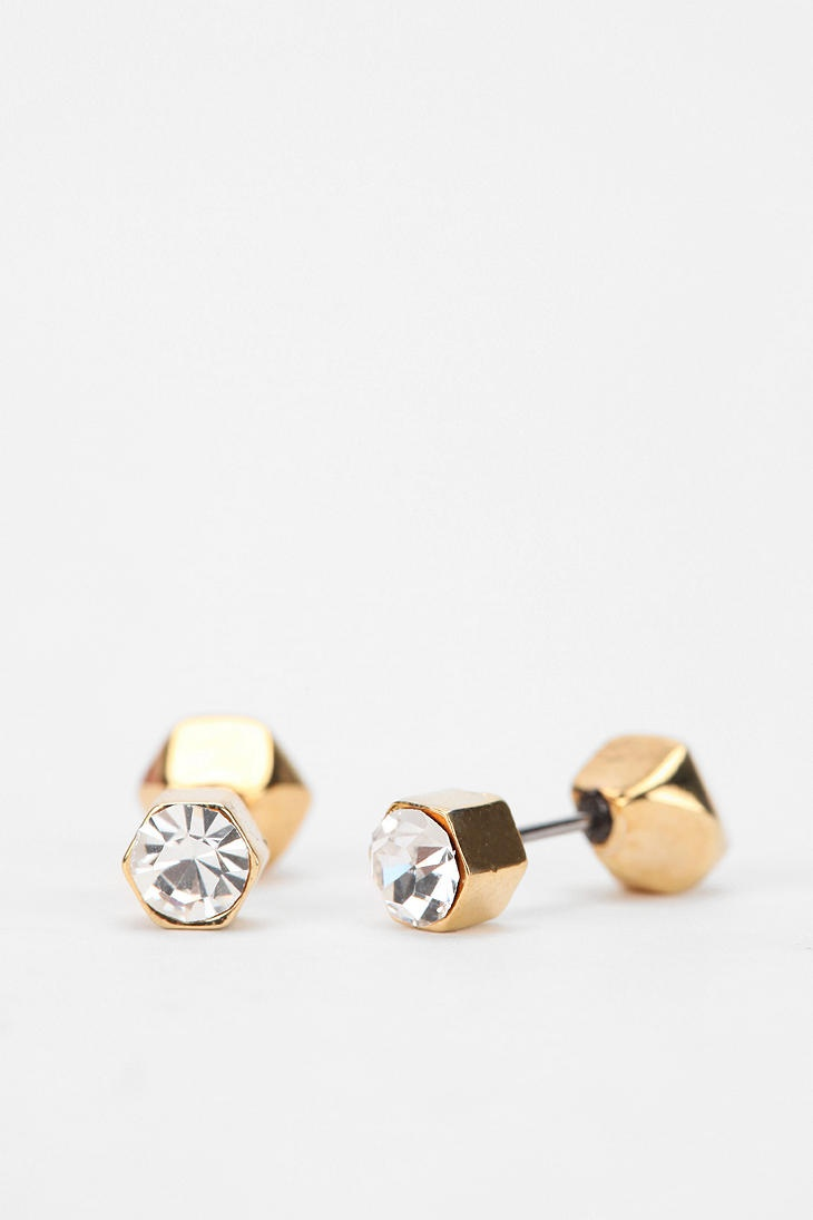 gold at buy double dotted ball cubic stud earring cross sided find