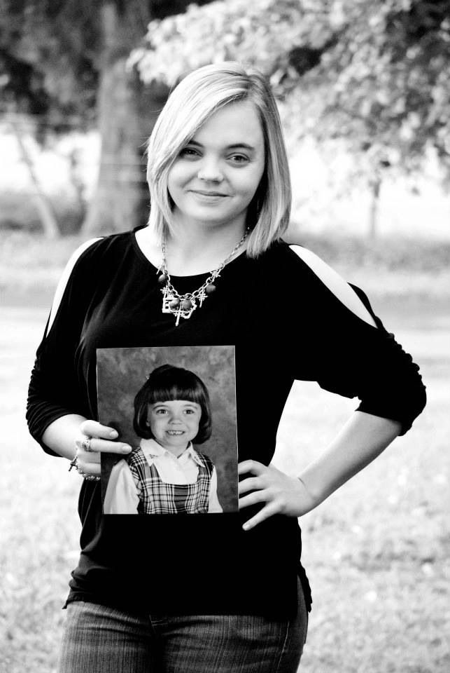 Senior Year 1st last day of school with Kindergarten Picture! Shows how much they've changed! Senior girl/Senior Picture ideas Photo Copyrighted by CharityGoodwinPhotography(c)