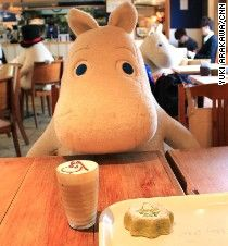 At Tokyo's Moomin Cafe, lone patrons are seated with a stuffed animal for company