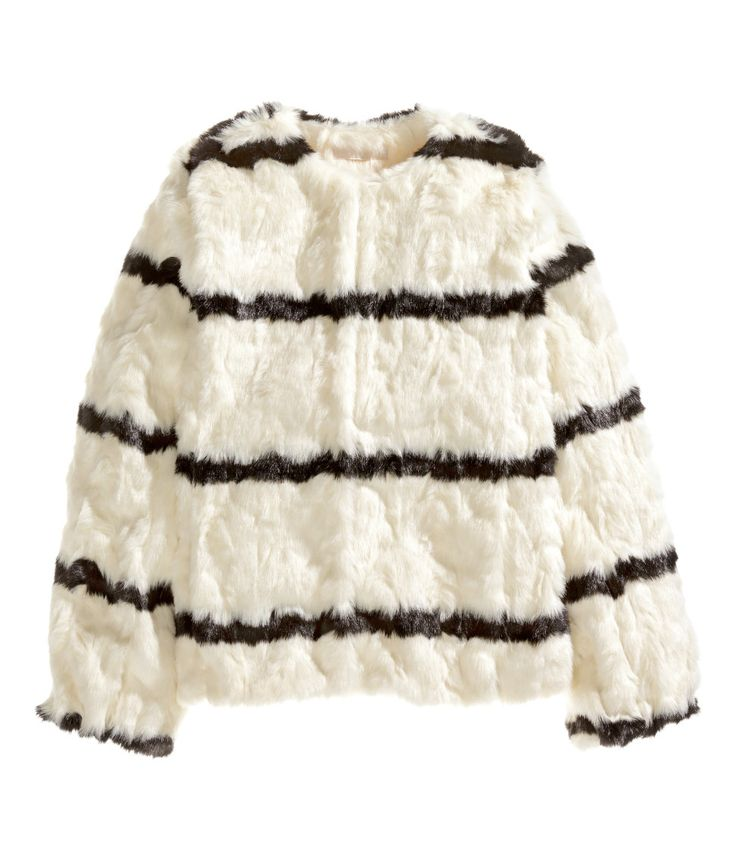 Short white faux fur jacket with black stripes, hook-and-eye fasteners, and side pockets. | Warm in H&M