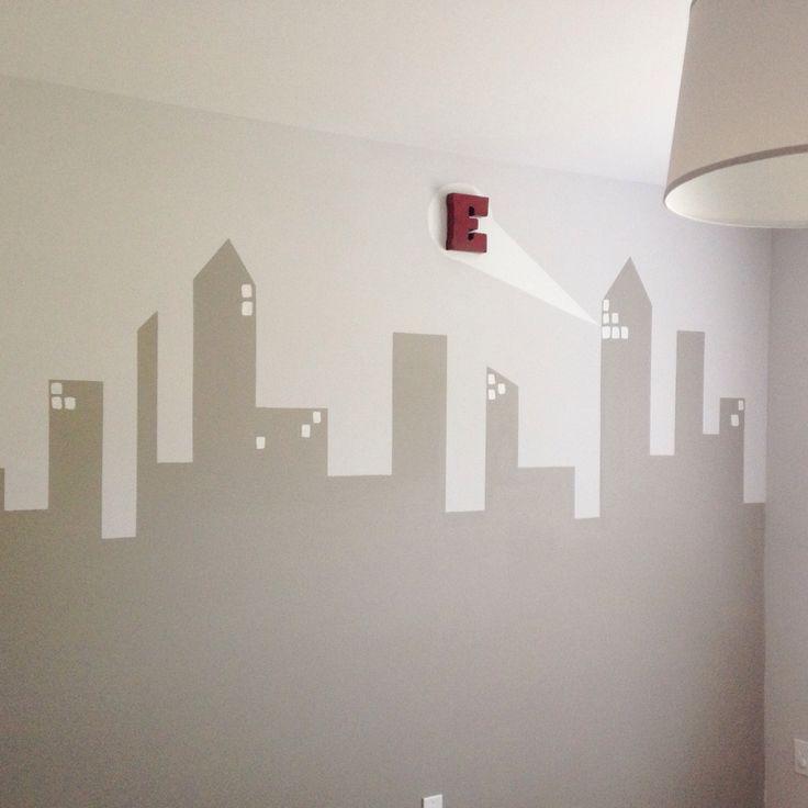 City scape, skyline, vintage superhero nursery, boy room