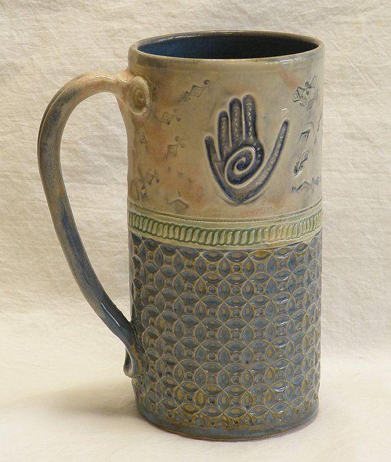 healing hand handmade ceramic coffee mug 20oz stoneware 20b017