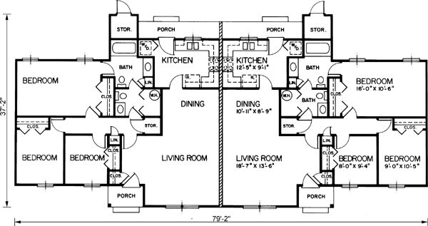 Ranch style house plans 2232 square foot home 1 story for 4 bedroom duplex floor plans