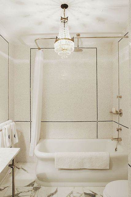 chelsea town house - bathroom chandelier