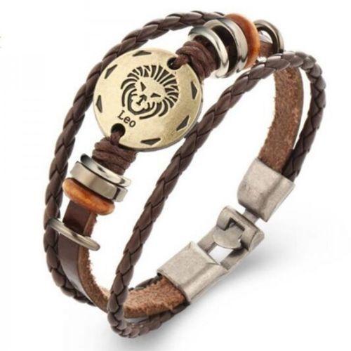 Bronze-Alloy-Buckle-Bracelet-Zodiac-Sign-Leo-Lion-Bracelet