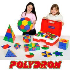 Polydron School Geometry Set 10-3020 Use this set to cover all the activities in the 'Mathematics with Polydron' resource book. Polystyrene insert allows the teacher to make sure everything is packed back into the tray.   This 266 piece set contains: 20 Hexagons, 30 Squares, 80 Equilateral Triangles, 12 Pentagons, 40 Right Angle Triangles, 60 Isosceles Triangles, 24 Root 2 Triangles, 2 Protractors and an Exploring booklet.  Age 4+. Each square piece measures 7.5 x 7.5cm.
