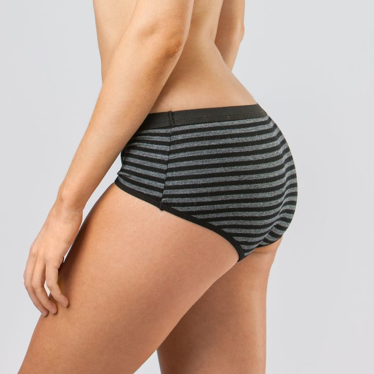 Modibod Active Boyleg in grey-black stripe. Model is a size 8 and wears a size 8. The best active/sports underpants on the market! Outer fabric made from active merino wool and includes our Modifier TechnologyTM in the gusset. Available in July 2014. Sign up to our newsletter to be notified info@modibodi.com.au