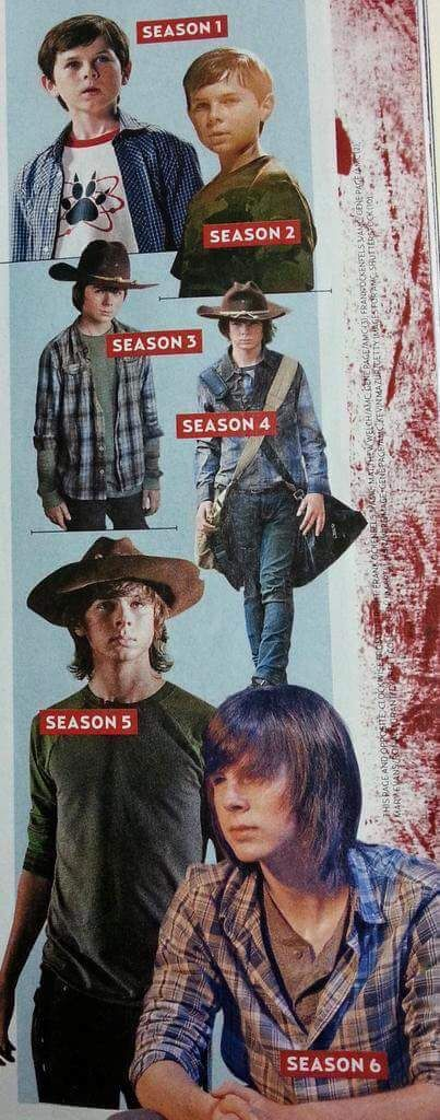 The Walking Dead... Carl Started With Cute Chubby Cheeks.. Now He Is A Tall Young Man With Long Hair And Those Cute Chubby Cheeks Are Gone.. Time Does Fly!!!