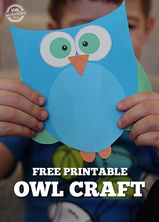 Free Craft Printables: Super Cute Printable Owl Craft in Blue or Pink