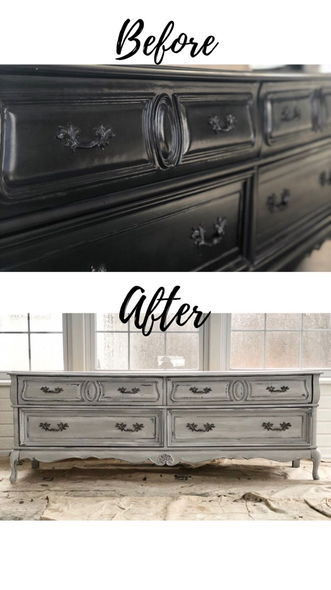 Dresser Restored With Chicago Grey Chalk Paint Chalk Paint Bedroom Furniture Black Painted Furniture Distressed Furniture Diy [ 1200 x 675 Pixel ]