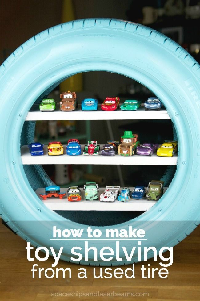 DIY Toy Shelves from a Used Tire | Boy Birthday Party Ideas and Supplies - Spaceships and Laser Beams
