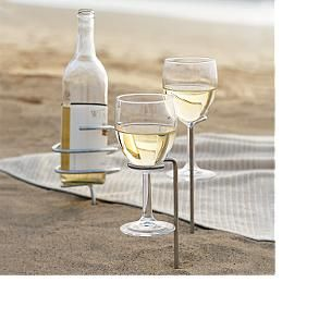 steady stick wine holders. need this for picnics on the beach, sunning in the yard, reading a book on a blanket, etc