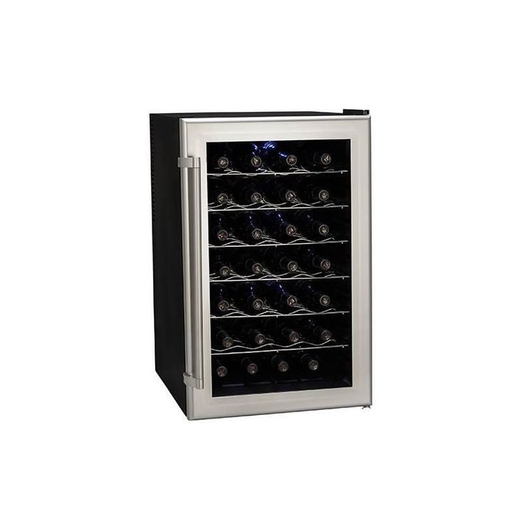 Koldfront TWR282 18 Inch Wide 28 Bottle Wine Cooler with Thermoelectric Cooling Silver on Black Refrigerators Wine Cooler Wine Cooler