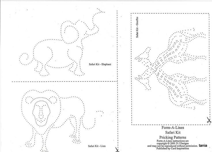 Elephant, Lion, Giraffe Tin Punch Pattern