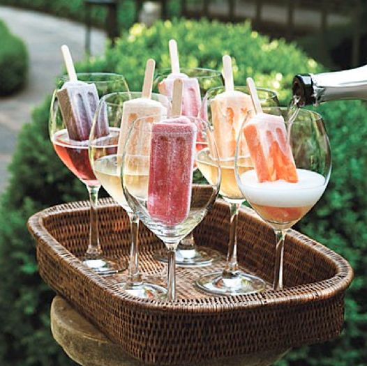 Fizzy wine poured over popsicles. Classy and simple.