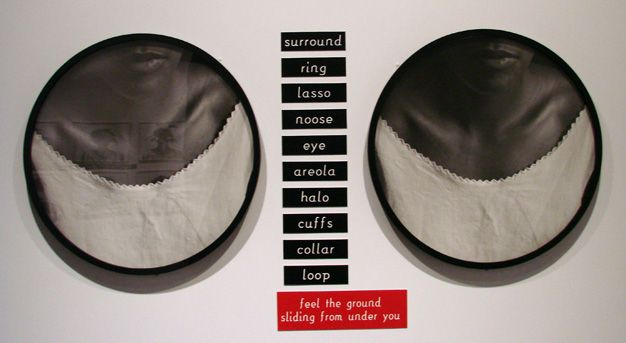 """""""Untitled (2 Necklines),"""" by Lorna Simpson, 2 gelatin silver prints, 11 engraved plastic plaques photographs 36 inches each"""