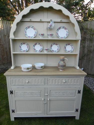 Vintage Painted Oak Jaycee Shabby Chic Dutch Dresser C