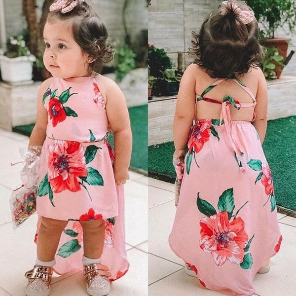 Toddler Kids Baby Girls Flower Ruffle Dress Summer Party Backless Floral Sundress Beachwear Overall Skirt Clothes Outfits