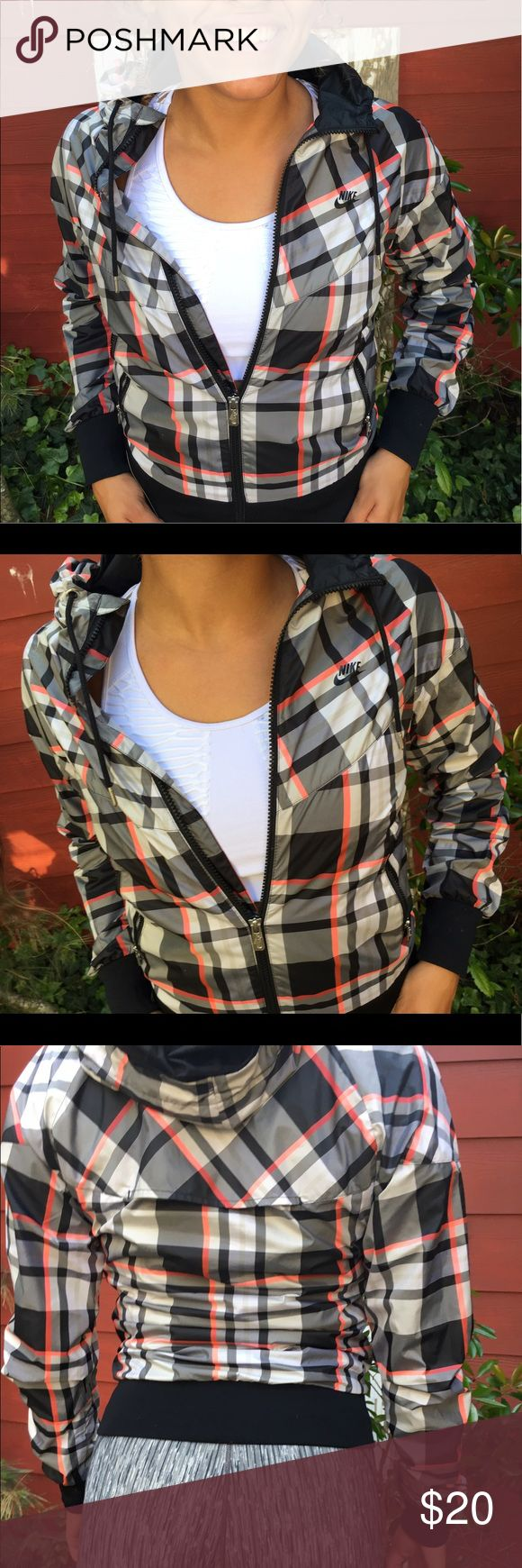 Plaid Nike rain jacket✨ Nike sportswear plaid jacket with mesh lining and drawstring hood. 2 usable pockets. Perfect condition. Nike Jackets & Coats Utility Jackets