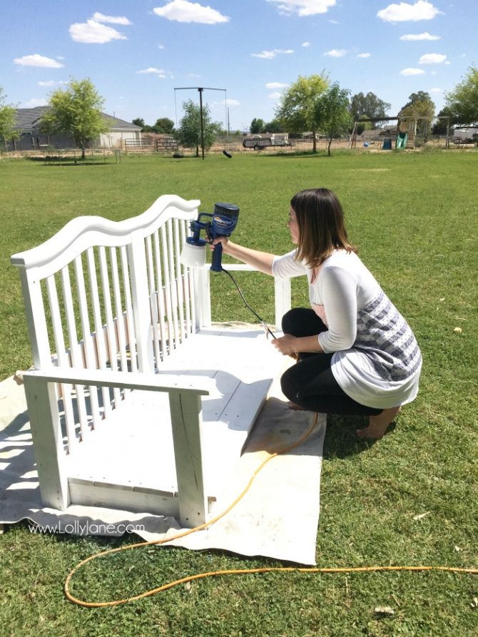 See how easy it is to upcycle a baby crib to porch swing tutorial. The Finish Max paint sprayer makes painting projects like this quick and easy.