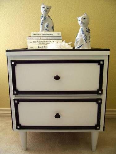 Black And White Nightstand. Furniture Redo.