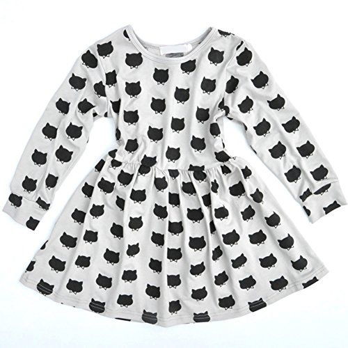 Smart Girls Dress WinterFall Cute Cat Print Soft Cotton Ruffle Long Sleeve Girls Tutu S -- Read more reviews of the product by visiting the link on the image.