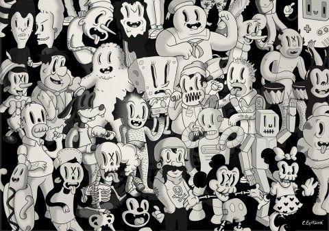 illustration - Coté Escrivá - The Mushroom Company - characters pattern