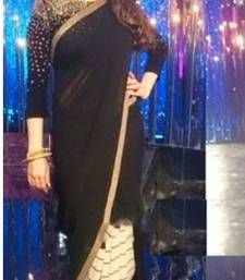 Buy Black  and  White Georgette Saree With Georgette Blouse madhuri-dixit-saree online