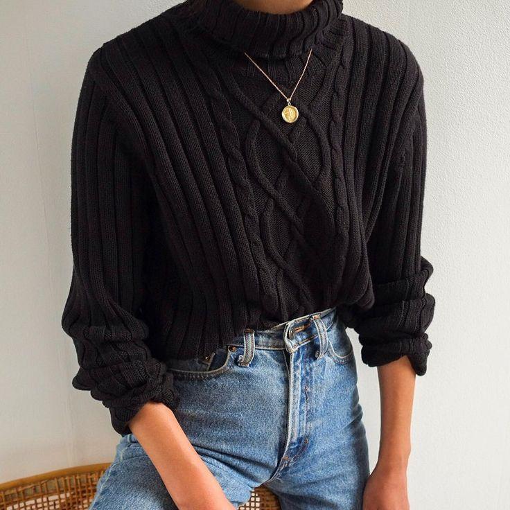 SOLD Vintage black 100% cotton soft cable knit rubber turtleneck, best fits xs-m…