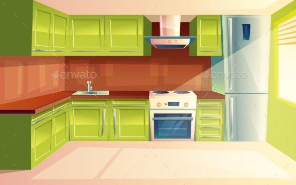 Vector Cartoon Modern Kitchen Interior Background Kitchen Background Modern Kitchen Interiors Kitchen Interior