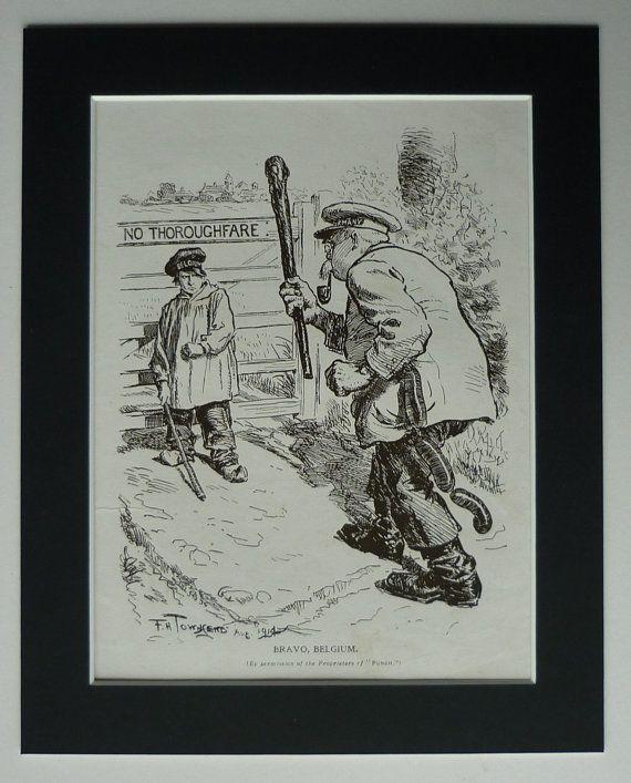 Antique WWI Propaganda Print - Antique Political Art - Belgium Print - WWI Politics Art - Belgian Gift - Available Framed - Military Art